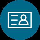 Een icoon van een identiteitsbewijs bij het onderwerp inschrijven